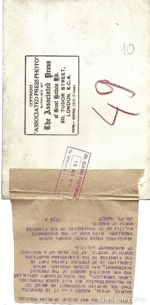 Militaria: LARGO CABALLERO MINISTRO GUERRA SOCIALISTA NORTE MADRID GUADARRAMA MILICIANOS GUERRA CIVIL 1936 - Foto 2 - 160602538