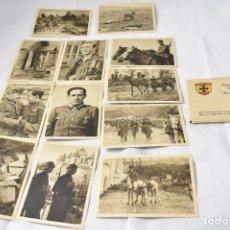 Militaria: VOLUNTARIOS ESPAÑOLES FRENTE AL ENEMIGO. SERIE I BILINGÜE ESPAÑOL-ALEMÁN. 12 POSTALES-FOTOS. Lote 160836006