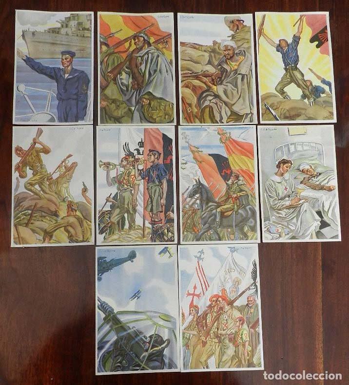 COLECCION COMPLETA DE 10 POSTALES ARTIFICES DE LA VICTORIA DE C.S. DE TEJADA, GUERRA CIVIL. (Militar - Fotografía Militar - Guerra Civil Española)