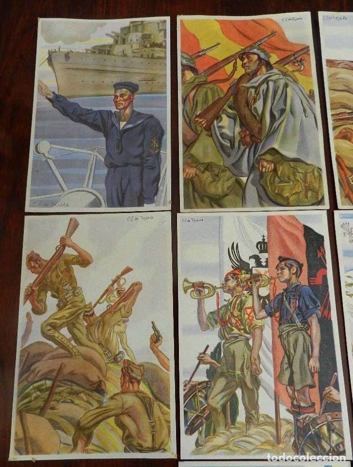 Militaria: COLECCION COMPLETA DE 10 POSTALES ARTIFICES DE LA VICTORIA DE C.S. DE TEJADA, GUERRA CIVIL. - Foto 2 - 162818666