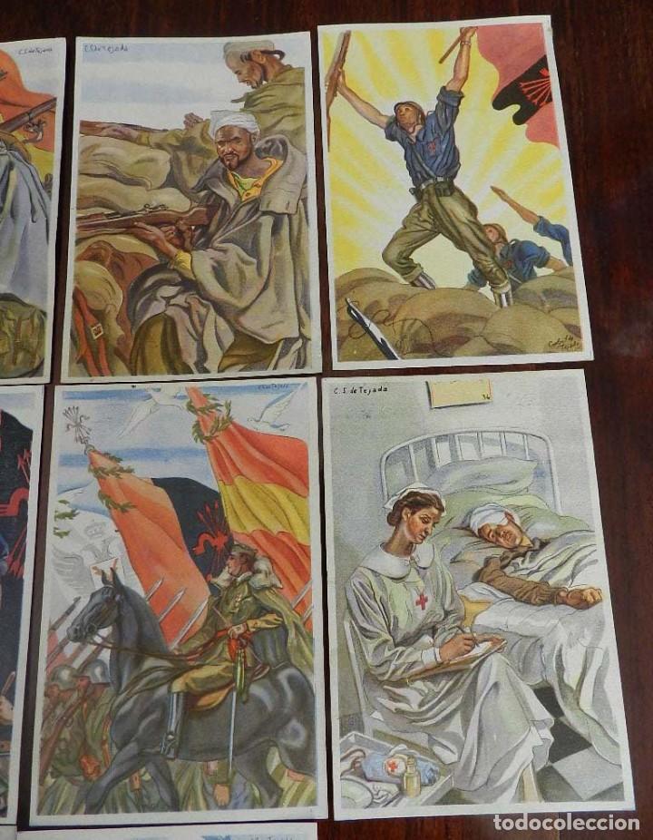 Militaria: COLECCION COMPLETA DE 10 POSTALES ARTIFICES DE LA VICTORIA DE C.S. DE TEJADA, GUERRA CIVIL. - Foto 3 - 162818666