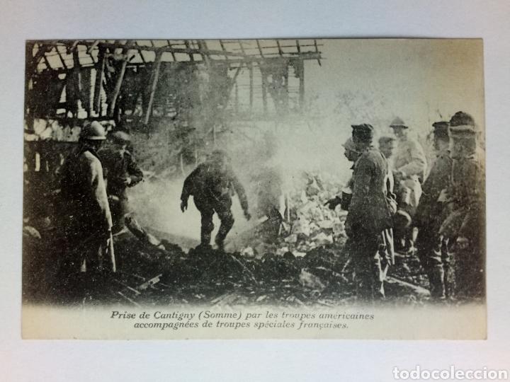 POSTAL I GUERRA MUNDIAL TOMA DE CANTIGNY TROPAS AMERICANAS Y FRANCESAS (Militar - Fotografía Militar - I Guerra Mundial)