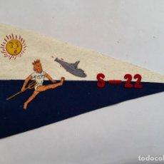 Militaria: MARINA : BANDERÍN DE FIELTRO DEL SUBMARINO ESPAÑOL S- 22. AÑOS 60. ENVÍO GRATUITO CERTIFICADO.. Lote 164598802