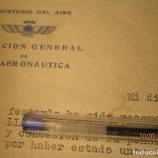 Militaria: AVIACION DOCUMENTO MILITAR RELATIVO A PENSION 1941 MINISTERIO AIRE PILOTO DE GUERRA CIVIL. Lote 165751210