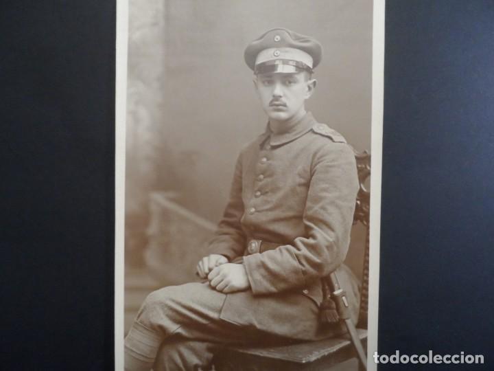 SOLDADO IMPERIAL ALEMAN CON BAYONETA POSANDO EN ESTUDIO. II REICH. AÑOS 1914-18 (Militar - Fotografía Militar - I Guerra Mundial)