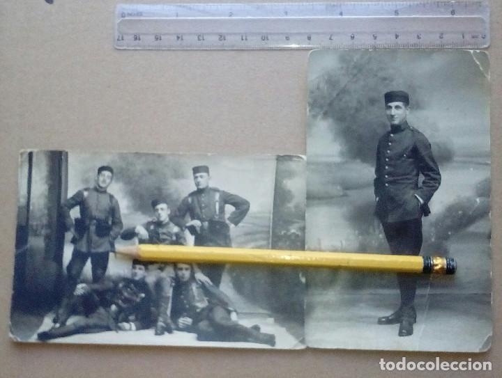 DOS FOTOGRAFÍAS DE SOLDADOS DEL REGIMIENTO ZAMORA Nº 8 (EL FIEL), LUGO. ALFONSO XIII. (Militar - Fotografía Militar - Otros)
