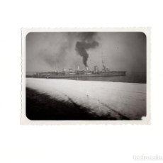 Militaria: FRAGATA DE GUERRA ESPAÑOLA. ALMERÍA 1935. FOTO ABELLIN. CARTAGENA. 9 X 12 CM. Lote 166623530