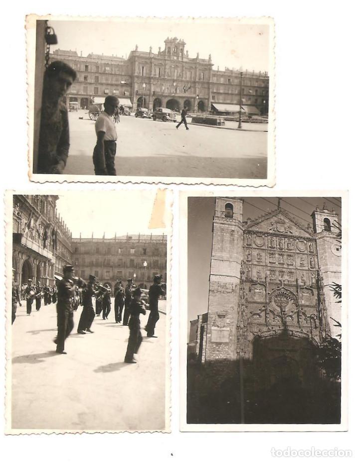 LOTE TRES FOTOGRAFÍAS DE SALAMANCA, PLAZA MAYOR Y CATEDRAL CON DESFILE AÑO 1937 ORIGINAL ÉPOCA (Militar - Fotografía Militar - Guerra Civil Española)