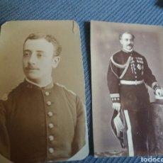 Militaria: 2 FOTOS MILLITARES ESPAÑOLES UNIFORMES, CORONEL DE GALA CON MEDALLAS, ESTADO MAYOR S. XIX TAMAÑO CDV. Lote 168448084