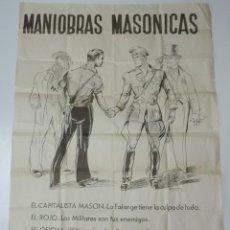 Militaria: CARTEL MANIOBRAS MASONICAS, FIRMADO POR AROZTEGUI 42, FALANGE, EL CAPITALISTA, EL ROJO, EL OFICIAL, . Lote 168557068