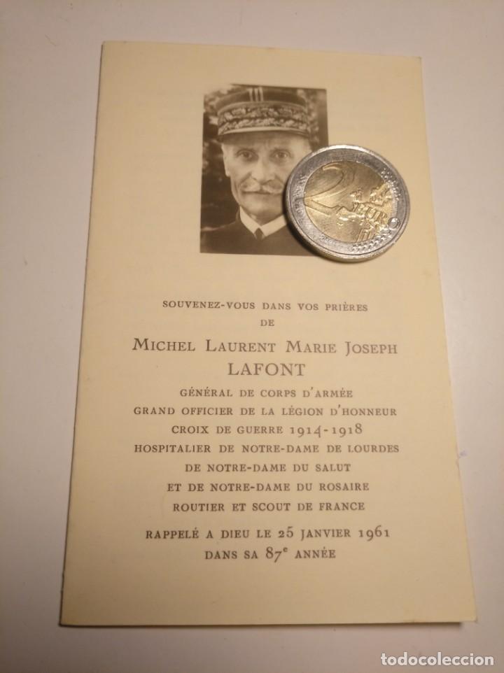 RECORDATORIO FALLECIMIENTO GENERAL LAFONT 1961 FRANCIA BAYONA EUSKADI BOY SCOUT SCOUTS (Militar - Fotografía Militar - I Guerra Mundial)