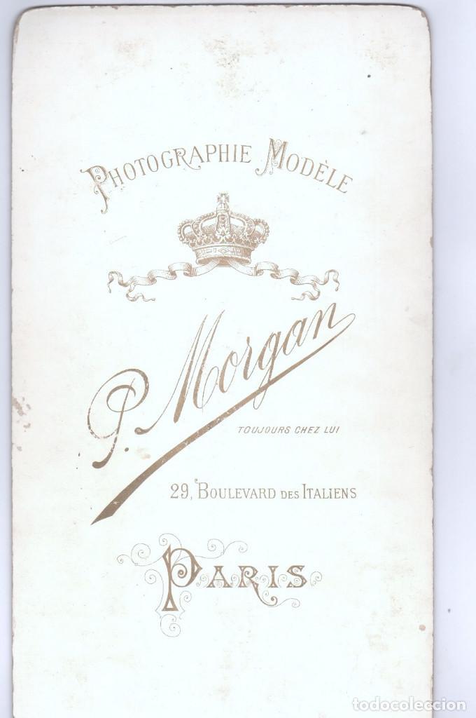 Militaria: MILITAR -el capitán josé solá y esposa, año 1886. Datos reversos, gran foto 21x38 cm. Morgan, París. - Foto 2 - 170067984