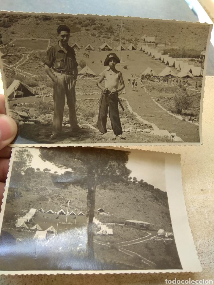 PAREJA DE FOTOGRAFÍAS FRENTE JUVENTUDES - CAMPAMENTO JAIME I - SERRA - AÑOS 40 - (Militar - Fotografía Militar - Otros)