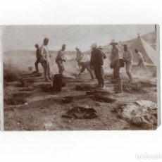 Militaria: CAMPAÑA DEL RIF.- CONFECCIÓN DE RANCHO EN CALDERETAS, ENERO DE 1912 - MEDIDAS 17,5X12 CM. Lote 170429340