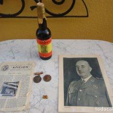 Militaria: LOTE 6 PIEZAS DE FRANCISCO FRANCO, FOTOS, MEDALLAS, PIN Y BOTELLA VINO HOMENAJE CON FOTO DE JOVEN.. Lote 171201735