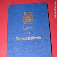 Militaria: CARNET EX-COMBATIENTE GUERRA CIVIL. Lote 171731283