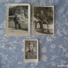 Militaria: LOTE DE TRES FOTOGRAFIAS DE SOLDADO EN VITORIA AÑOS 40. Lote 172396934