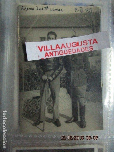 JOSE MARIA LAMBEA PILOTO CONDECORADO CON MEDALLAS EN PLENA GUERRA FRENTE ARAGON CIVIL 1937 LEGION (Militar - Fotografía Militar - Guerra Civil Española)