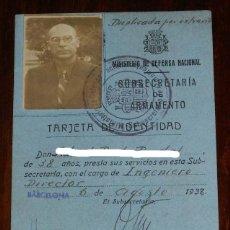 Militaria: CARNET INGENIERO DIRECTOR, PLENA GUERRA CIVIL 6 DE AGOSTO 1938, REPUBLICA, SUBSECRETARIA DE ARMAMENT. Lote 173112128