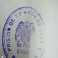 Militaria: PRISION DE PILOTO OFICIAL AVIADOR EN GUERRA CIVIL PRISION MILITAR TORRES DE CUARTE VALENCIA. Lote 173408930