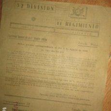 Militaria: ORDEN MILITAR EN VALENCIA ALICANTE 52 DIVISION 11 REGIMIENTO 1942 ESTADO MAYOR 4 PAGS. Lote 173521205
