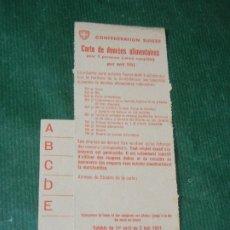 Militaria: CARTILLA DE RACIONAMIENTO SUIZA 1941. Lote 174022415