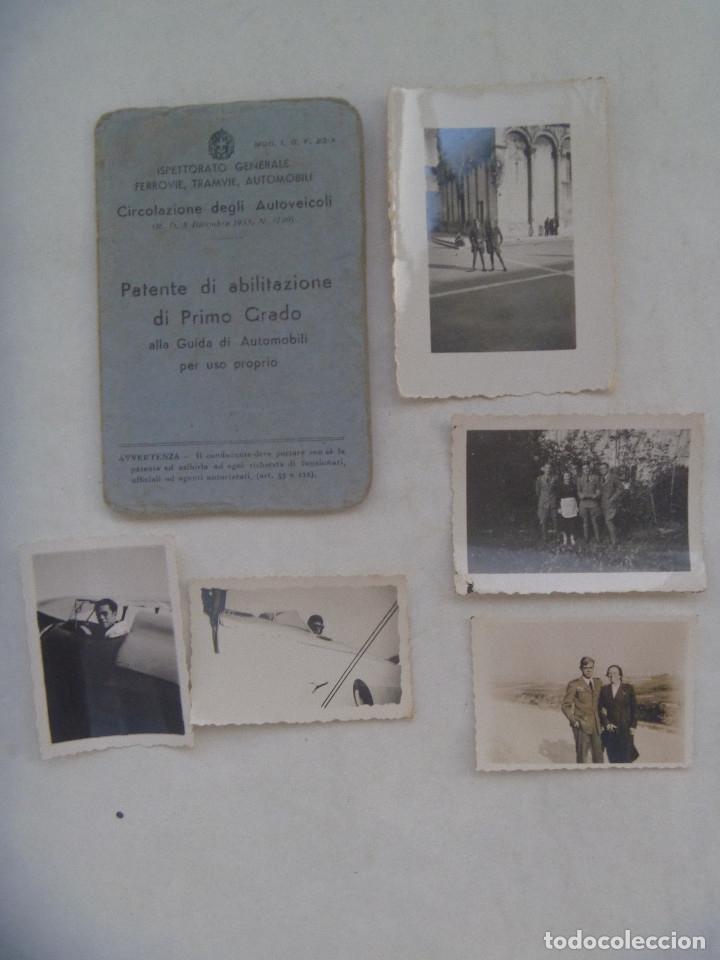 GUERRA CIVIL - AVIACION: LOTE PILOTO NACIONAL DE LUGO, HIZO CURSO EN ITALIA, CARNET CONDUCIR Y FOTOS (Militar - Fotografía Militar - Guerra Civil Española)
