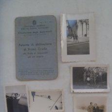 Militaria: GUERRA CIVIL - AVIACION: LOTE PILOTO NACIONAL DE LUGO, HIZO CURSO EN ITALIA, CARNET CONDUCIR Y FOTOS. Lote 176202179