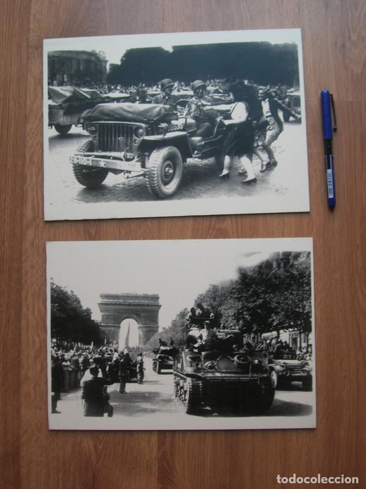 DECORATIVAS FOTOGRAFIAS DE LA LIBERACION DE PARIS IMPRESAS EN PLANCHA METALICA. GRAN FORMATO. JEEP. (Militar - Fotografía Militar - II Guerra Mundial)