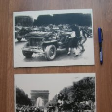 Militaria: DECORATIVAS FOTOGRAFIAS DE LA LIBERACION DE PARIS IMPRESAS EN PLANCHA METALICA. GRAN FORMATO. JEEP.. Lote 176244698