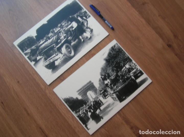 Militaria: DECORATIVAS FOTOGRAFIAS DE LA LIBERACION DE PARIS IMPRESAS EN PLANCHA METALICA. GRAN FORMATO. JEEP. - Foto 5 - 176244698