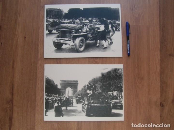 Militaria: DECORATIVAS FOTOGRAFIAS DE LA LIBERACION DE PARIS IMPRESAS EN PLANCHA METALICA. GRAN FORMATO. JEEP. - Foto 7 - 176244698