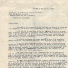 Militaria: CARTA PERSONAL DE FEDERICO MANUEL HEDILLA LARREY DIRIGIDA AL PARDO ATT. FRANCISCO FRANCO BEHAMONDE.. Lote 177638928