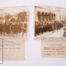 Militaria: 2 FOTOGRAFÍAS ORIGINALES DE PRENSA DE LA GUERRA CIVIL - ENTRADA TROPAS FRANQUISTAS BARCELONA, 1939. Lote 178570926
