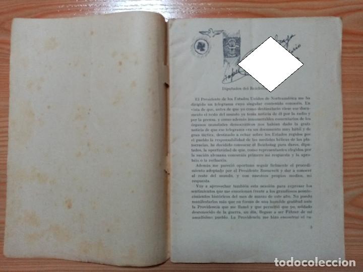Militaria: DISCURSO PRONUNCIADO POR EL FUHRER Y CANCILLER ADOLF HITLER EN EL REICHSTAG 1939 - Foto 2 - 182319668