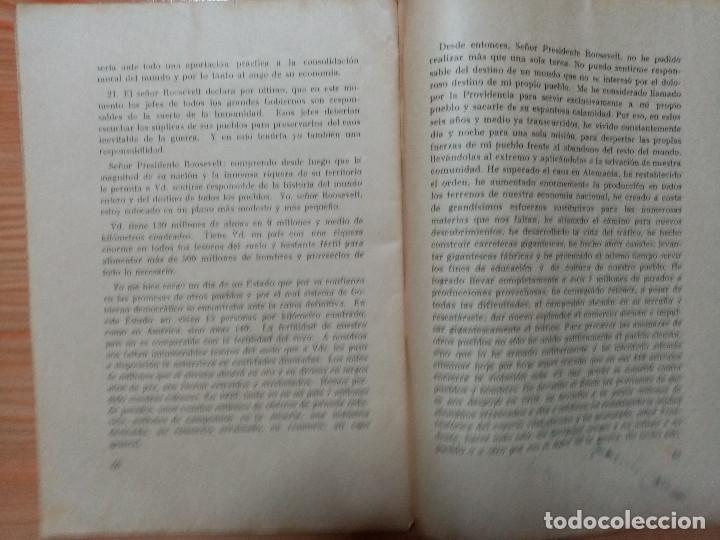 Militaria: DISCURSO PRONUNCIADO POR EL FUHRER Y CANCILLER ADOLF HITLER EN EL REICHSTAG 1939 - Foto 3 - 182319668