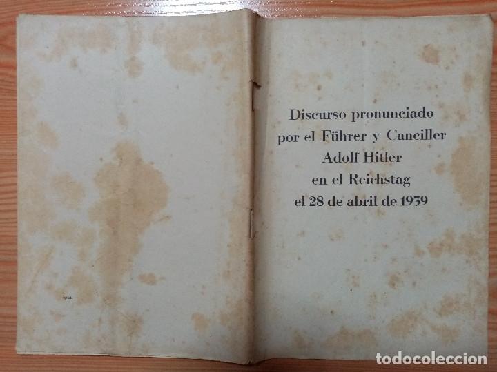 Militaria: DISCURSO PRONUNCIADO POR EL FUHRER Y CANCILLER ADOLF HITLER EN EL REICHSTAG 1939 - Foto 5 - 182319668
