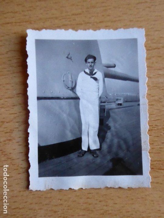 Militaria: Fotografía marinero crucero Canarias. Guerra Civil - Foto 2 - 182715855