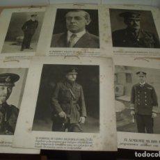 Militaria: LAMINAS LITOGRÁFICAS FOTOGRAFÍAS PERSONAJES MILITARES, ALIADOS 1ª GUERRA MUNDIAL. Lote 182783807