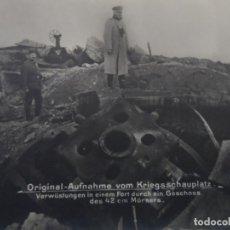 Militaria: DEVASTACION EN UN FUERTE A TRAVES DE UN PROYECTIL MORTERO DE 42CM. II REICH. AÑOS 1914-18. Lote 182787670