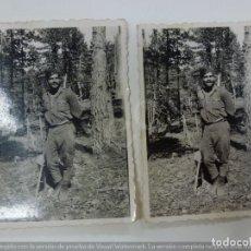 Militaria: LOTE DE 2 FOTOGRAFÍAS ANTIGUAS. SOLDADO DURANTE LA GUERRA CIVIL. 1938. (8,6 CM X 6,3=. Lote 183283118