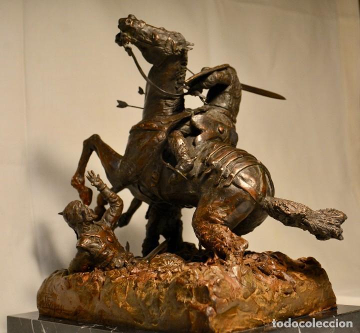 Militaria: EL CID CAMPEADOR EN LA BATALLA DE BAIREN escultura en bronce - Foto 2 - 245473810