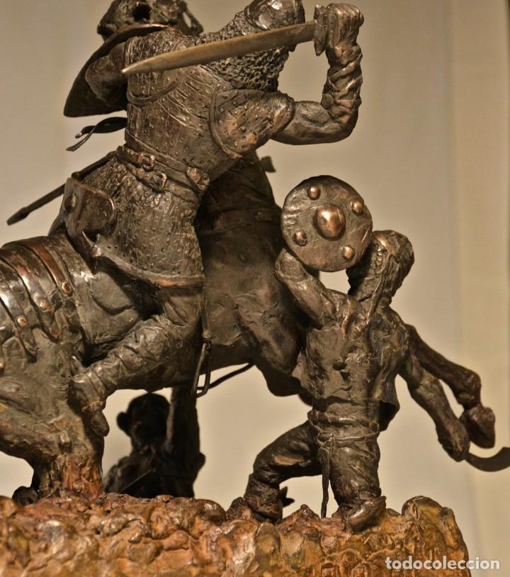 Militaria: EL CID CAMPEADOR EN LA BATALLA DE BAIREN escultura en bronce - Foto 3 - 245473810