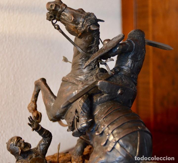 Militaria: EL CID CAMPEADOR EN LA BATALLA DE BAIREN escultura en bronce - Foto 5 - 245473810