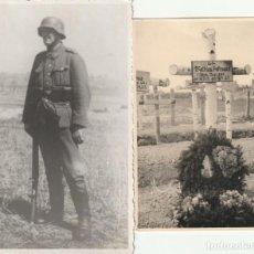 Militaria: LOTE DE 2 FOTOS DE SOLDADOS DE LA WEHRMACHT Y ESCENARIOS BÉLICOS - (NAZISMO, SEGUNDA GUERRA MUNDIAL). Lote 183683983