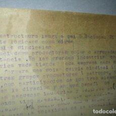 Militaria: ESTRUCTURA SINDICAL S. NACIONAL ORIGINAL DE CARLOS HERRERO ESQUEMA MANUSCRITO EN REVERSO. Lote 186280223