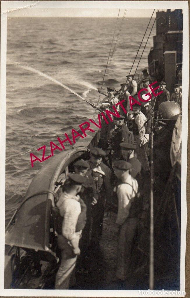 WWI,ANTIGUA FOTOGRAFIA, MANIOBRAS EN UN TORPEDERO,14X9 CMS (Militar - Fotografía Militar - I Guerra Mundial)