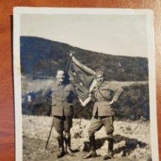 Militaria: FOTOGRAFIA GUERRA DE MARRUECOS OFICIALES CON BANDERA. Lote 189229370