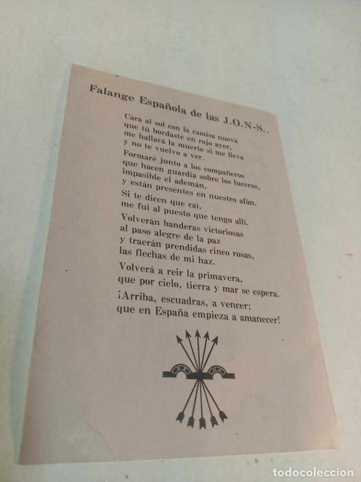 Militaria: Fotografía Jose Antonio Primo de Rivera. Falange Española de las J.O.N.S. Cara al Sol en trasera. - Foto 2 - 189593241