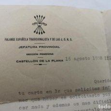 Militaria: FALANGE ESPAÑOLA Y DE LAS JONS, CASTELLON DE LA PLANA 1938, SOLICITANDO IR AL FRENTE. Lote 190051876